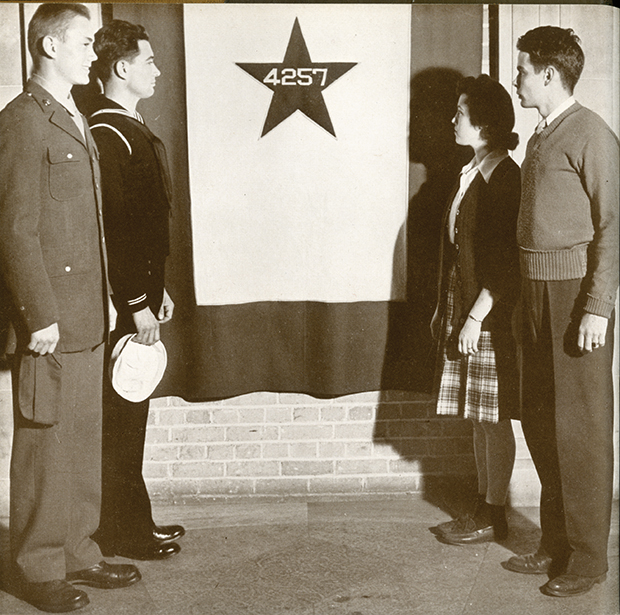 More than 4,200 Iowa Staters were in the service by the time this photograph of the Blue Star Flag was taken in 1944.