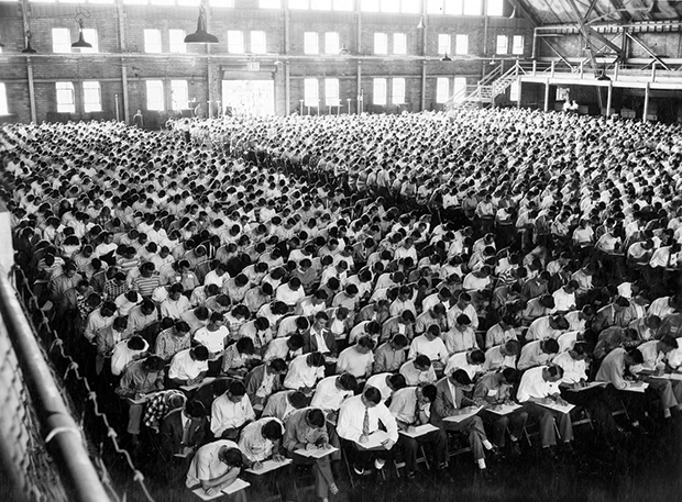 The new freshman class of 1948 was so large that it filled the entire floor of the Armory.