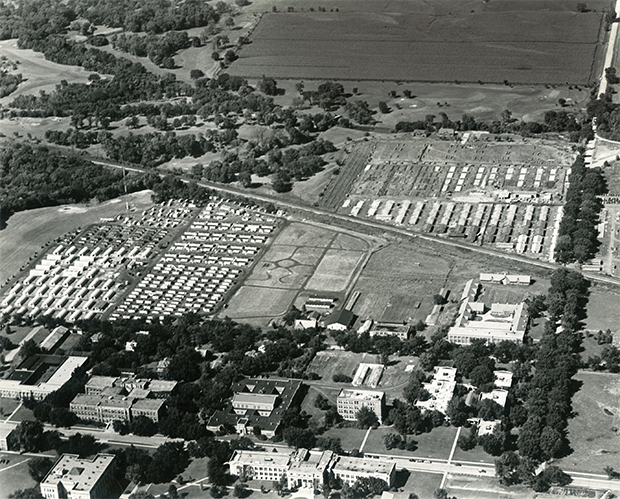 With the new influx of married veteran students, ISC needed to respond to meet their housing needs. The War Department responded by providing the college with enough structures to build what became Pammel Court, seen here under construction in 1946.