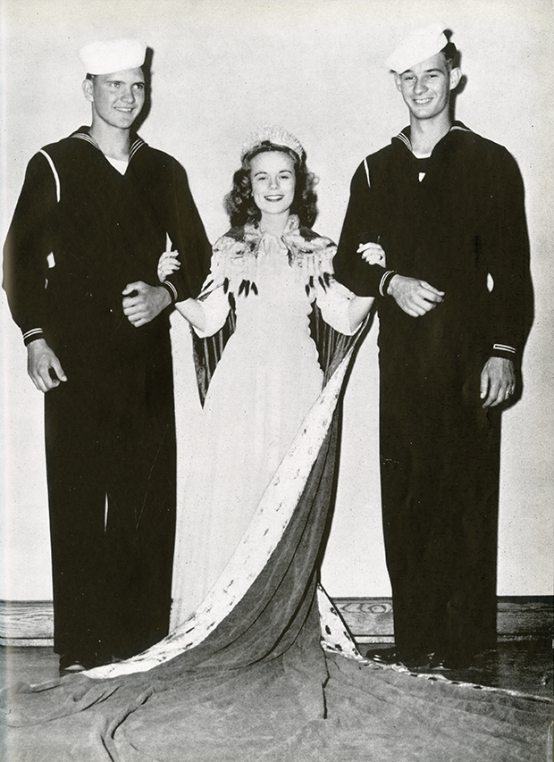 The 1943 VEISHEA queen, Dorothy Isaacson, was flanked by US Navy cadets rather than by college students.